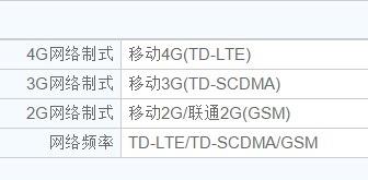 (写真4)中国移動(チャイナモバイル)専用スマートフォンの通信規格