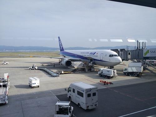 (写真1)見慣れた全日本空輸(ANA)の旅客機(関西空港)