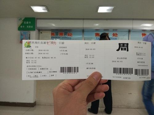 (写真2)上海市からのバス往復と入場料がセットになったチケット