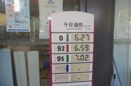 (写真1)上海市内のガソリンスタンド、番号によりガソリンの種類が分かれる