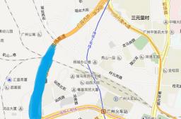 (写真1)とくに広園西路の青色の場所に卸売市場が集まっている(広州市)